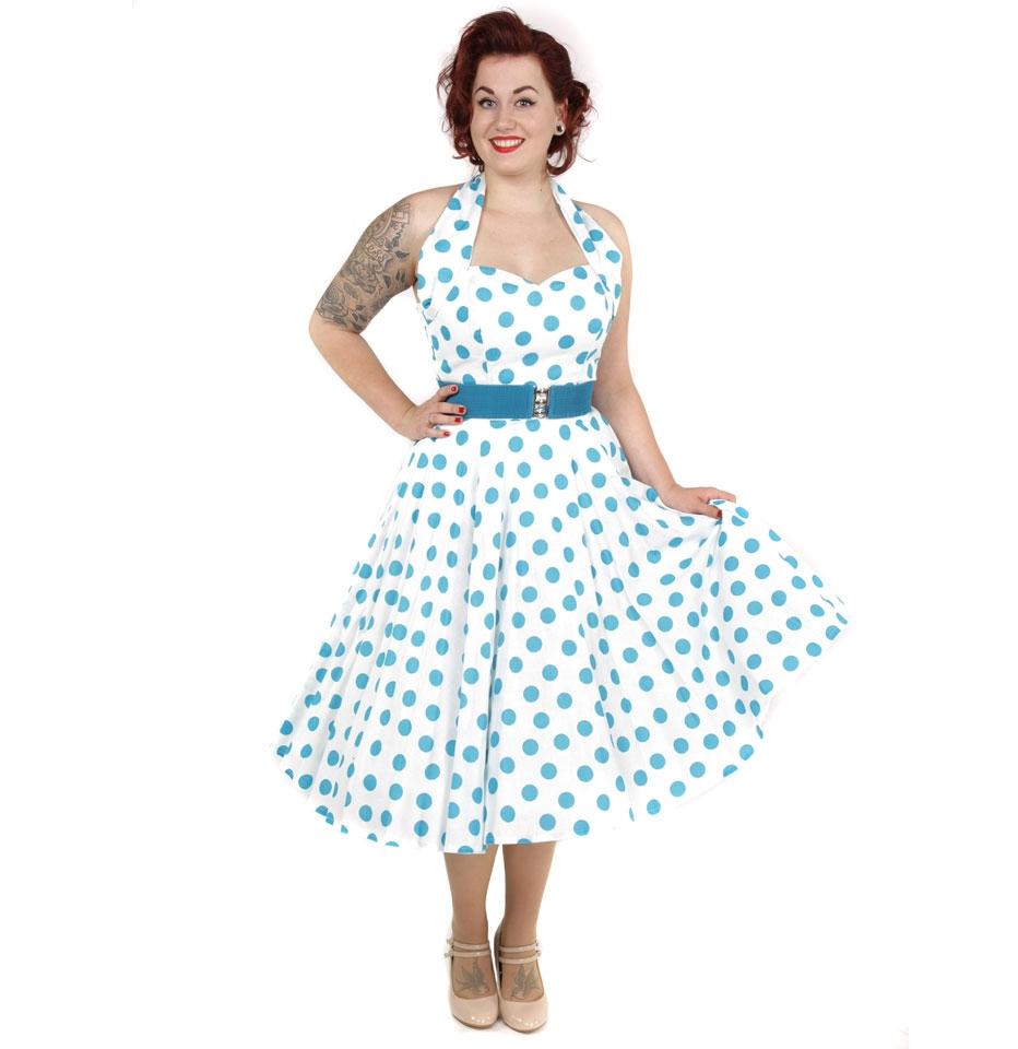 Polka Dress White/Turquoise