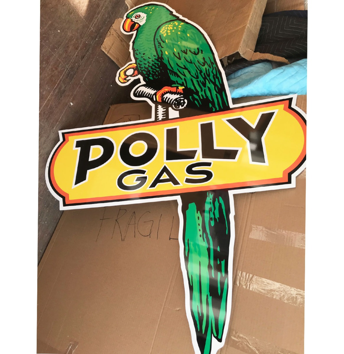 Polly Gas Groot Metalen Bord - Reproductie