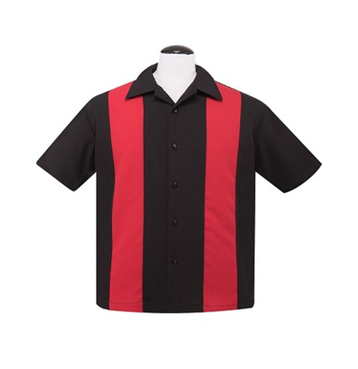 Poplin Double Panel Shirt Zwart Rood