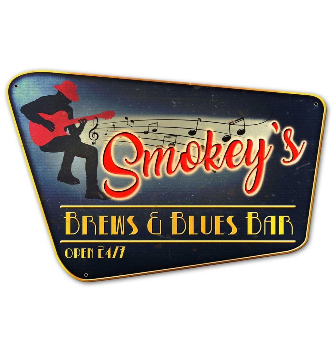 Smokey's Brews & Blues Bar Zwaar Metalen Bord - 75 x 50 cm