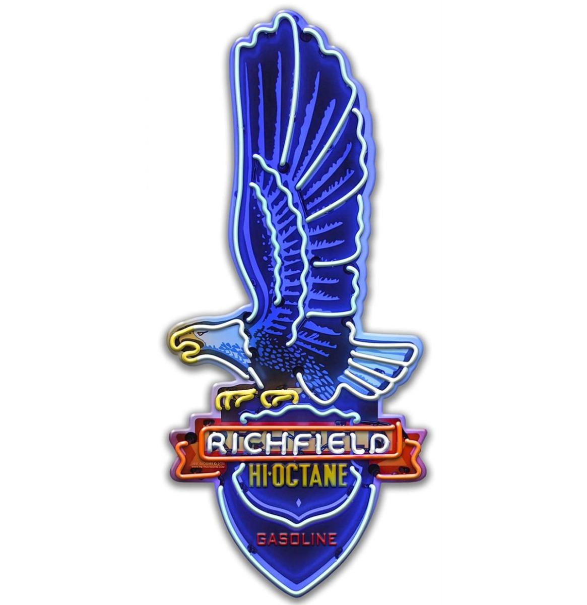 Richfield Hi-Octane Gasoline Eagle Neon Metalen Bord 46 x 20 cm
