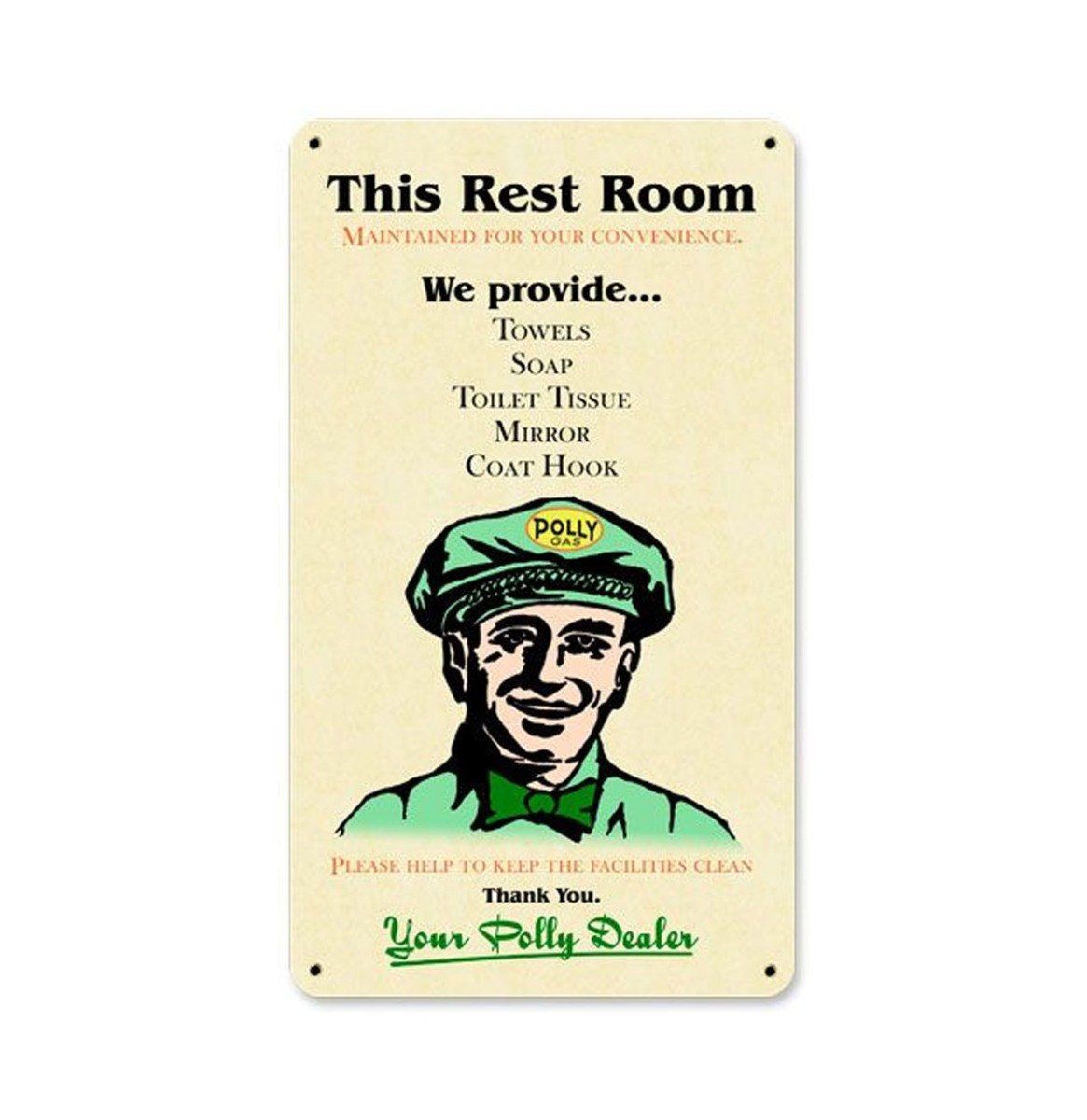 Polly Gas Rest Room Metalen Bord 34,5 x 20,5 cm