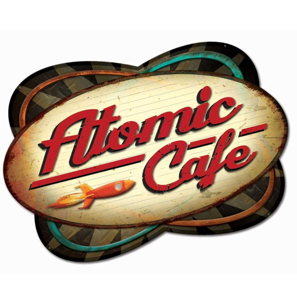 Atomic Cafe Retro Zwaar Metalen Bord 73 x 50 cm