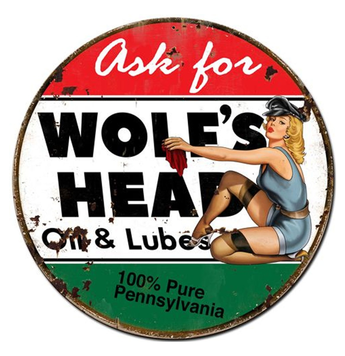 Ask For Wolf's Head Oil And Lubes Pin-Up Metalen Bord 76 cm