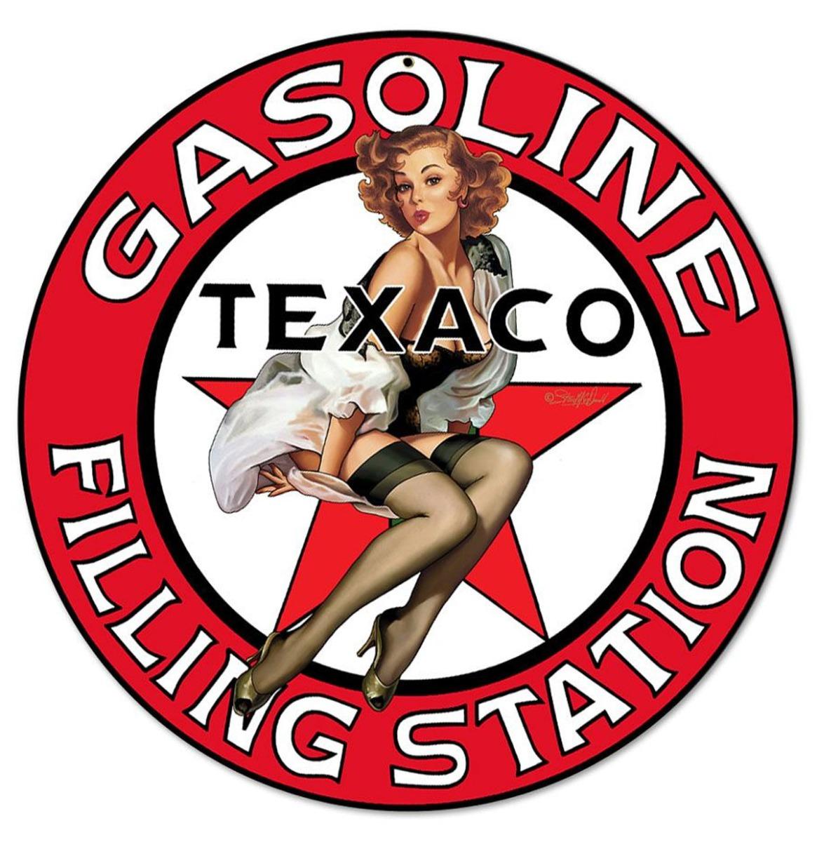 Gasoline Filling Station Texaco Pin-Up Girl Metalen Bord 36 cm