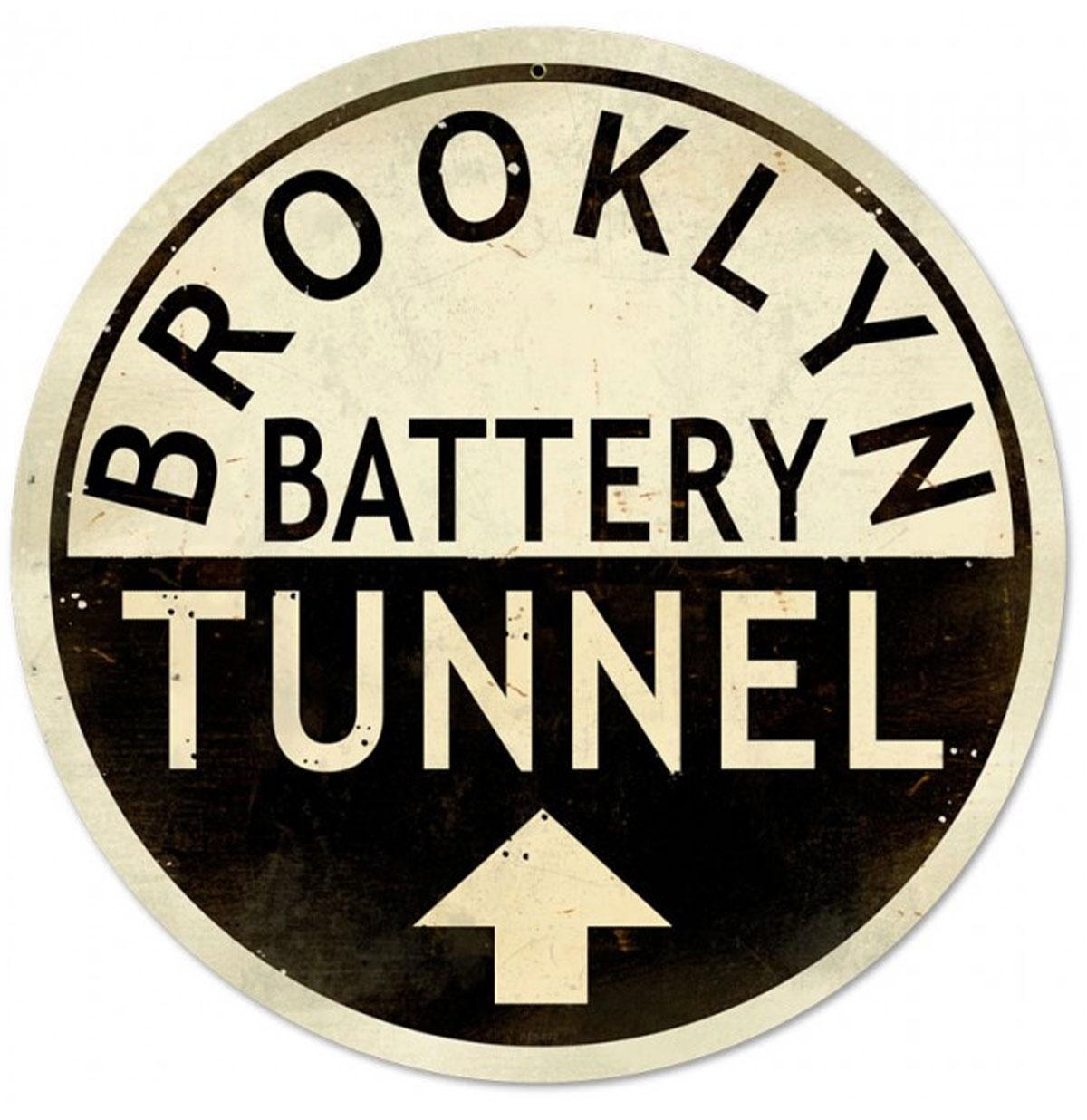 New York Brooklyn Battery Tunnel Rond Zwaar Metalen Bord 35 cm �
