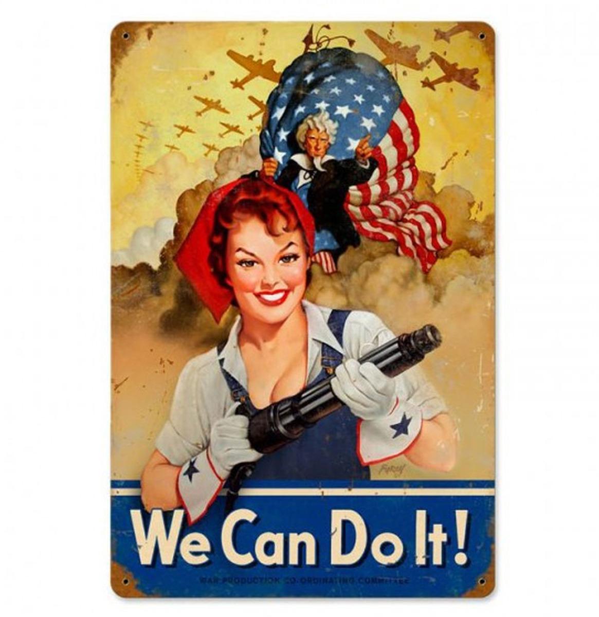 We Can Do It USA Heavy Zwaar Metalen Bord 45 x 30 cm