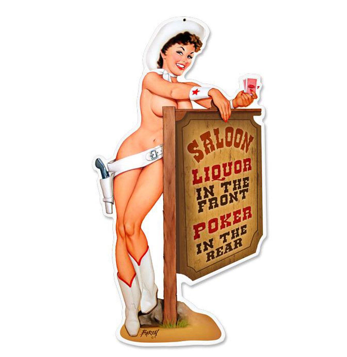 Saloon Cowgirl Zwaar Metalen Bord