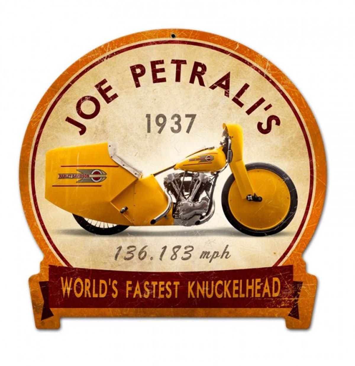 Joe Petrali's World's Fastest Knuckelhead 1937 Zwaar Metalen Bord 38 x 38 cm