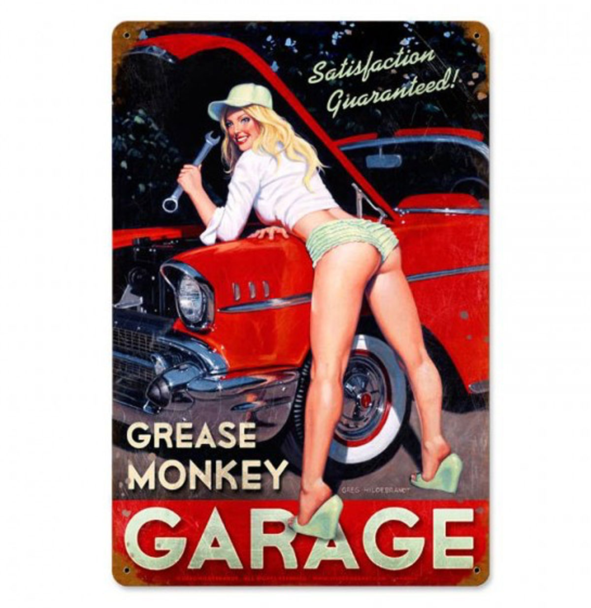 Grease Monkey Garage Pin-Up Zwaar Metalen Bord - Greg Hildebrandt