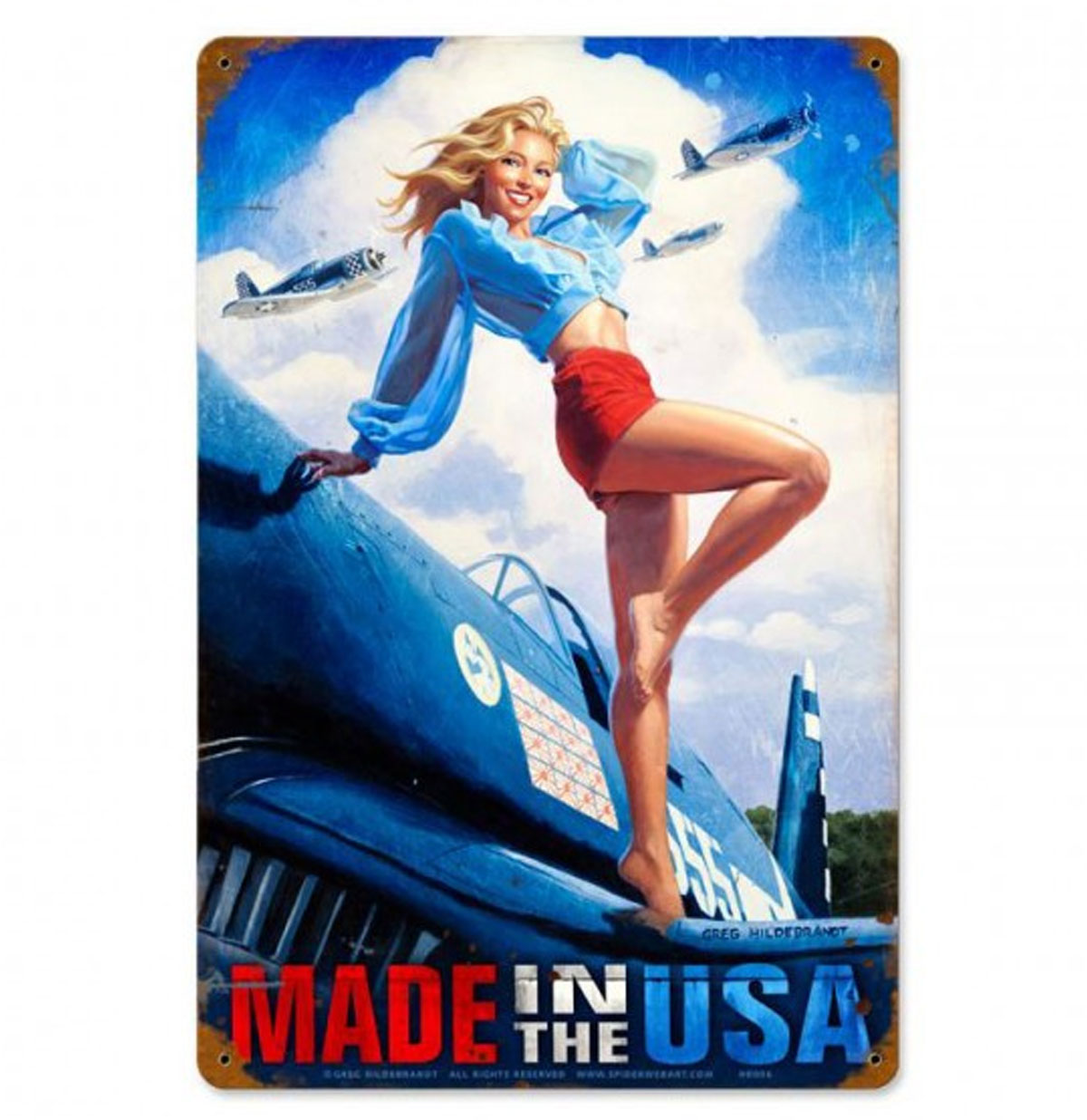 Made in the USA Pin-Up Zwaar Metalen Bord - Greg Hildebrandt