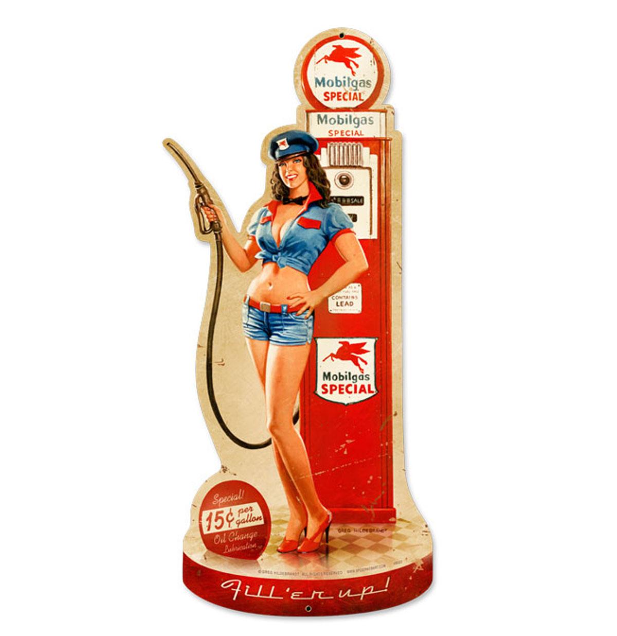 Gas Pump Girl Fill'er up Zwaar Metalen Bord 66 x 26,5 cm