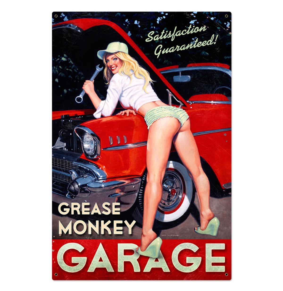 Grease Monkey Garage Zwaar Metalen Bord XL