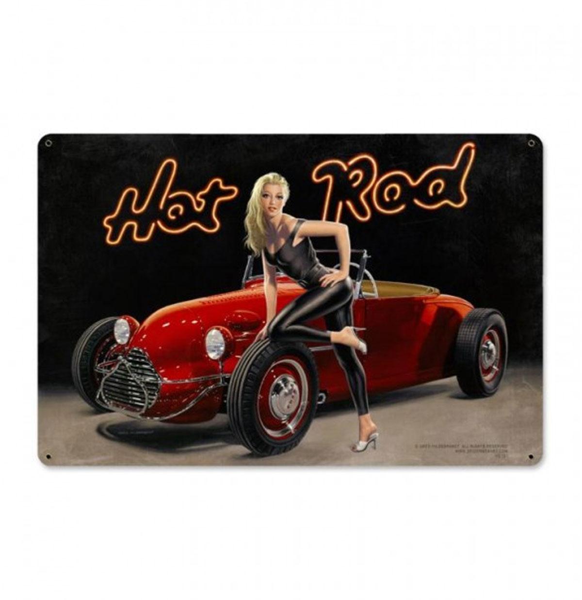 Hot Rod Pin-Up Zwaar Metalen Decoratie Bord XL - Greg Hildebrandt
