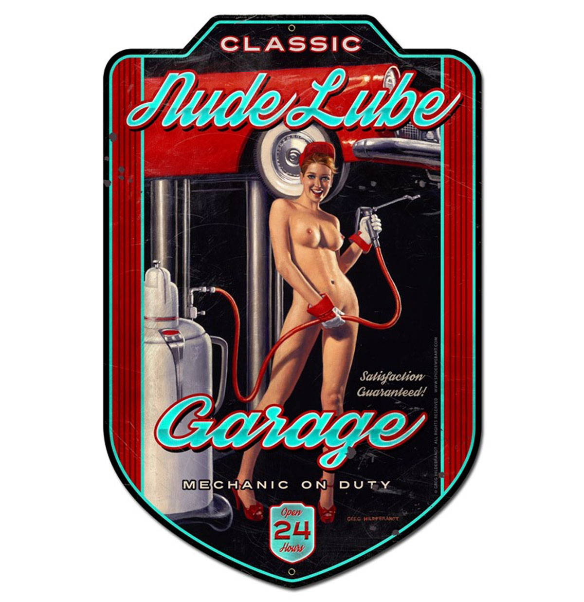 Nude Lube Garage - Mechanic on Duty Pin-Up Zwaar Metalen Bord