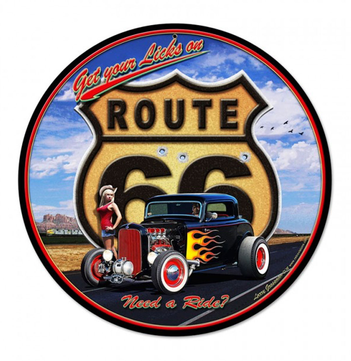 Route 66 Hot Rod 'Get Your Licks' Zwaar Metalen Bord