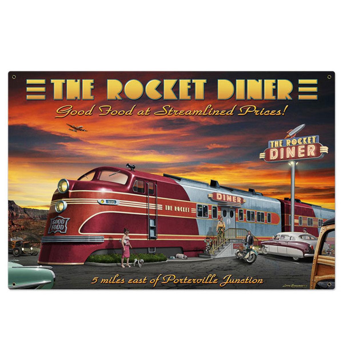The Rocket Diner Heavy Gauge American Steel Groot Bord
