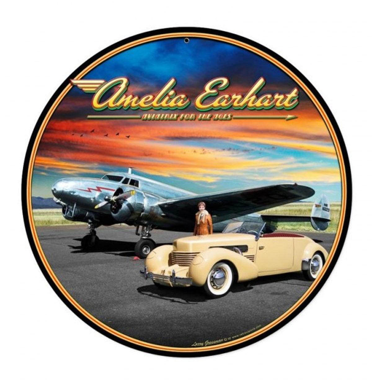 Amelia Earhart Aviatrix Zwaar Metalen Bord