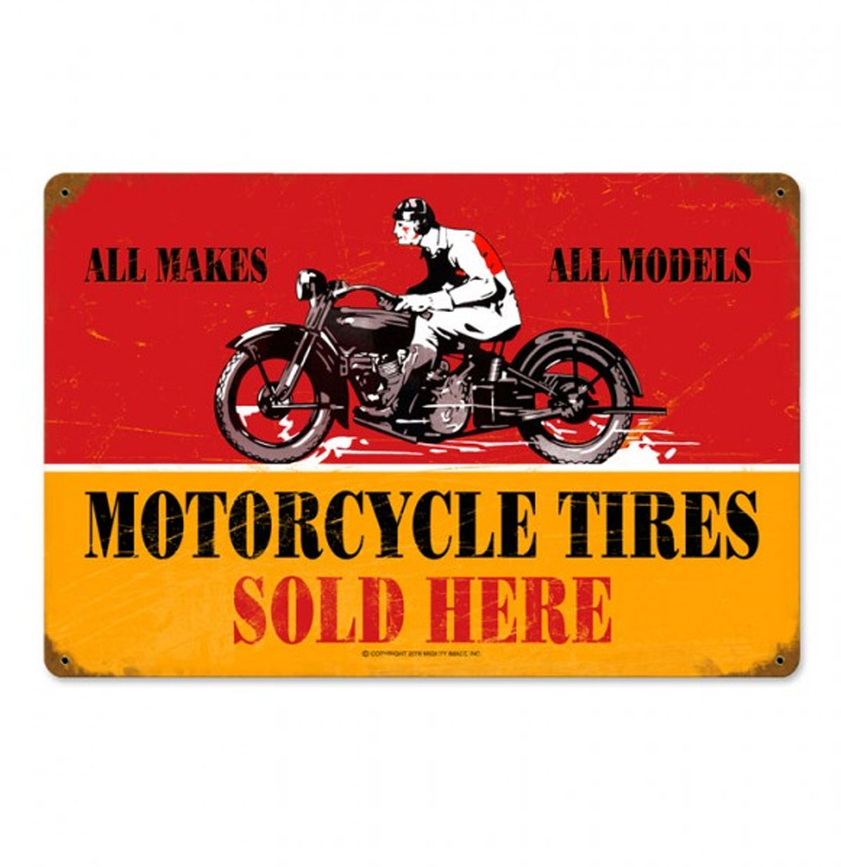 Motorcycle Tires Sold Here Zwaar Metalen Bord 45 x 30 cm
