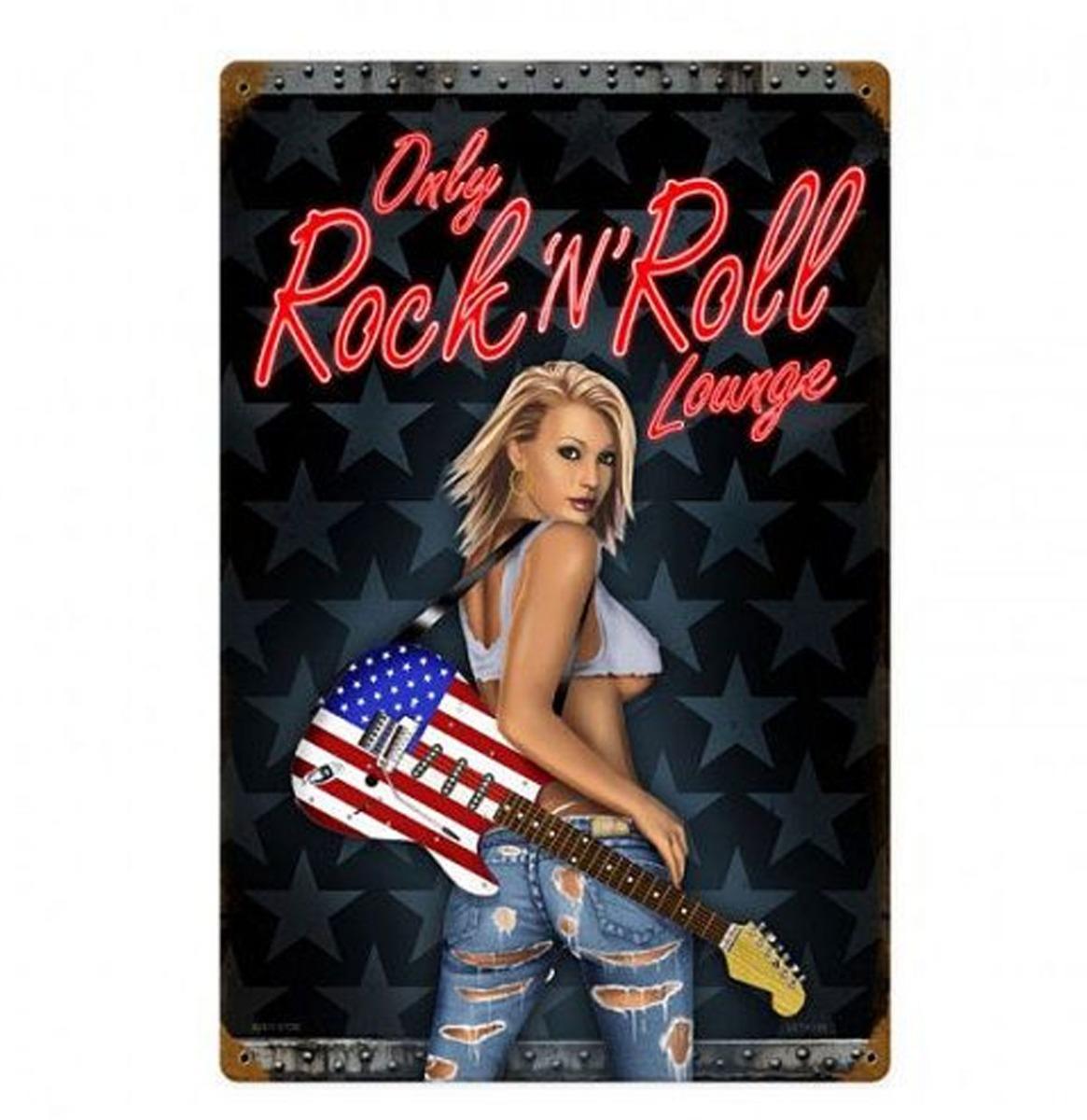 Only Rock 'N' Roll Lounge Pin-Up Zwaar Metalen Bord