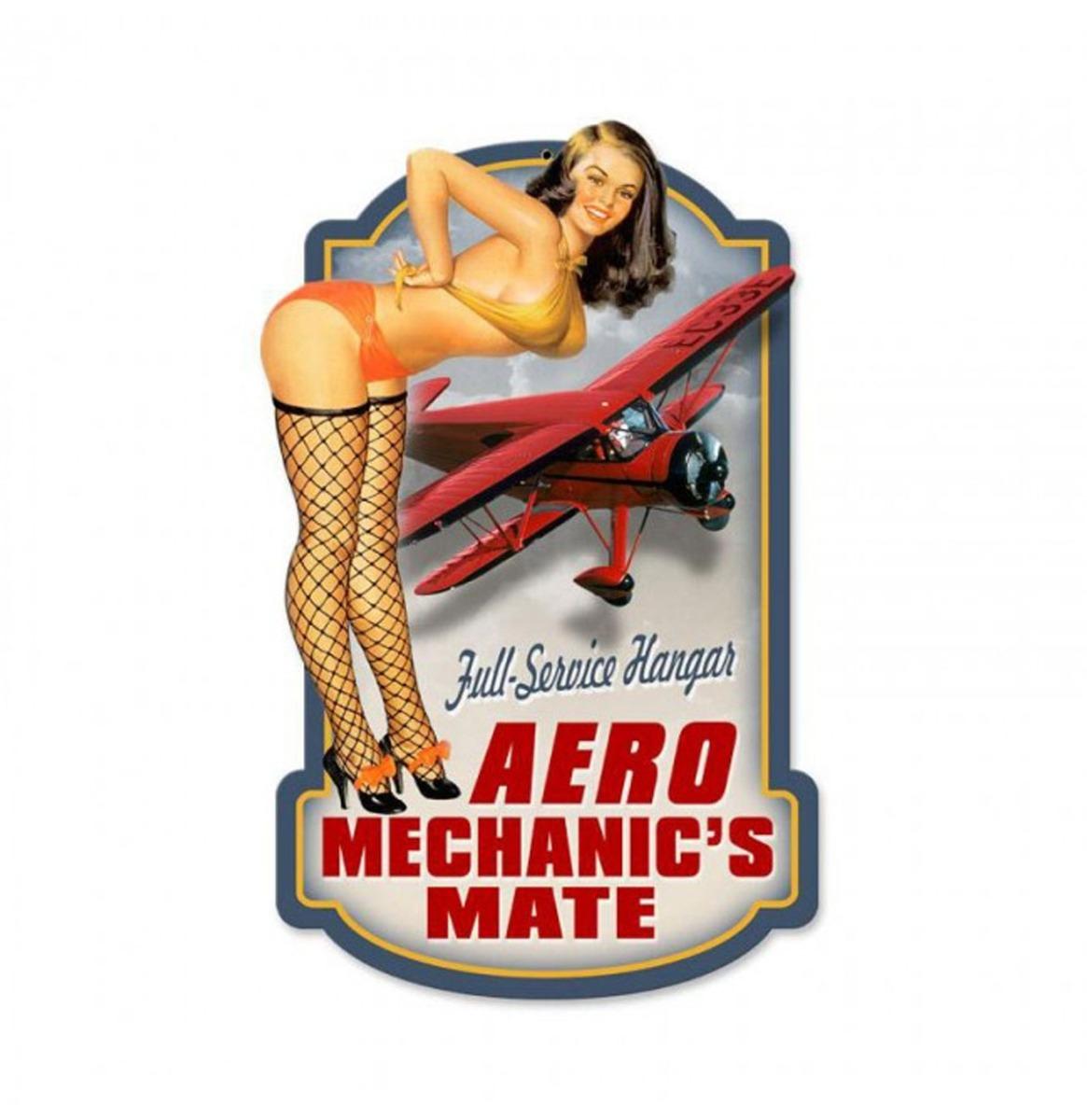 Aero Mechanic's Mate Zwaar Metalen Bord 25,5 x 41 cm
