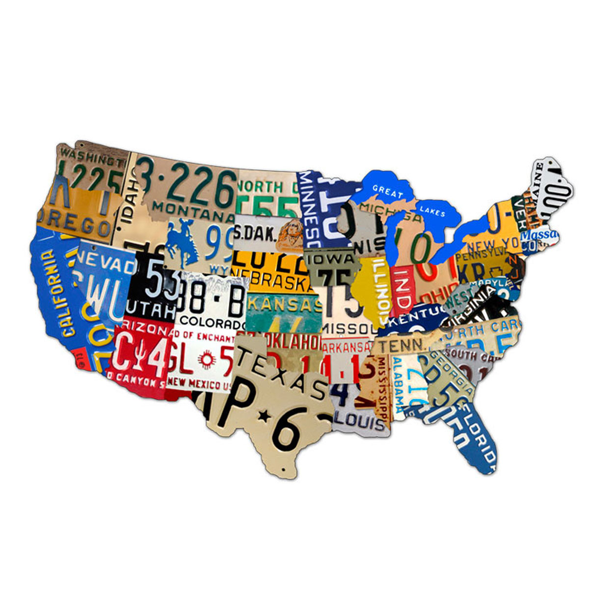 License Plates USA map Zwaar Metalen Bord