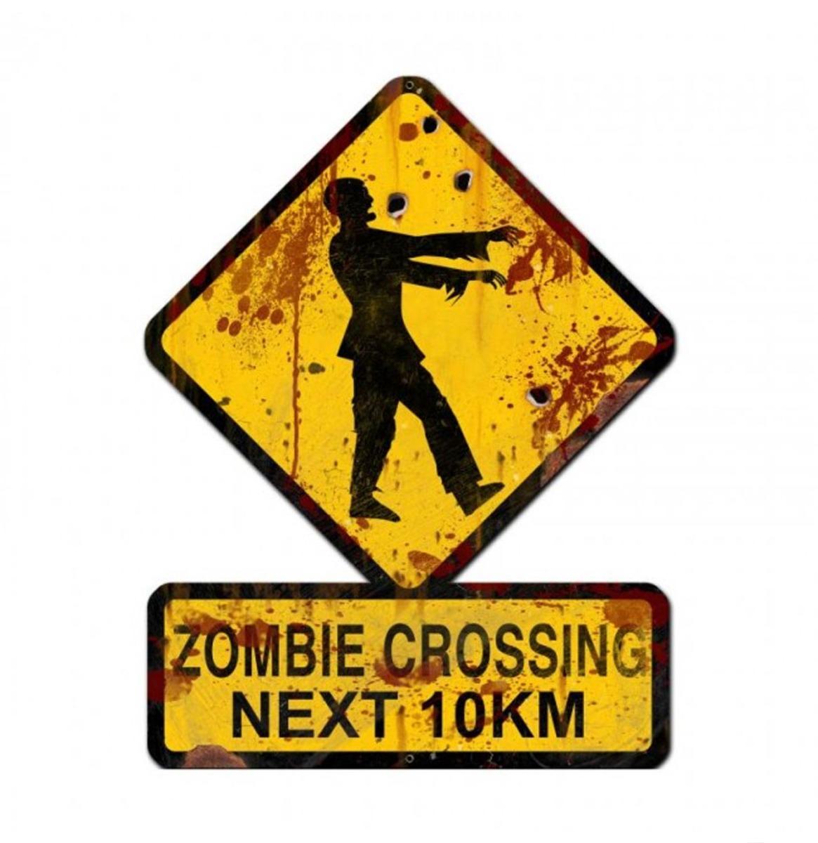 Zombie Crossing Next 10 KM Zwaar Metalen Bord 62,5 x 47 cm