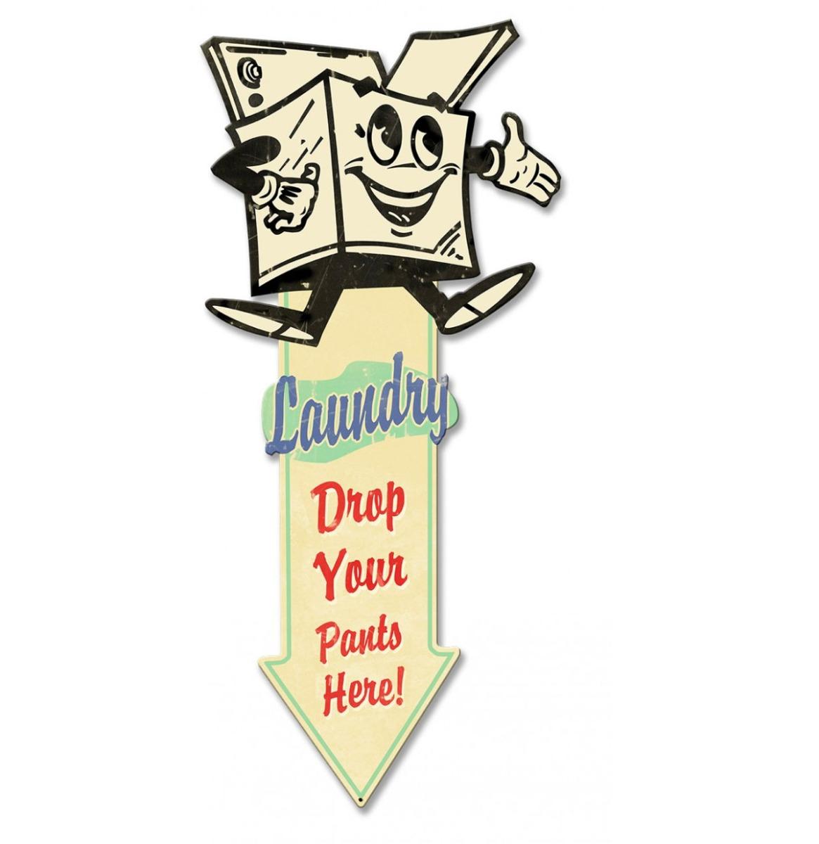 Laundry Arrow Down Zwaar Metalen Bord 60 x 28 cm