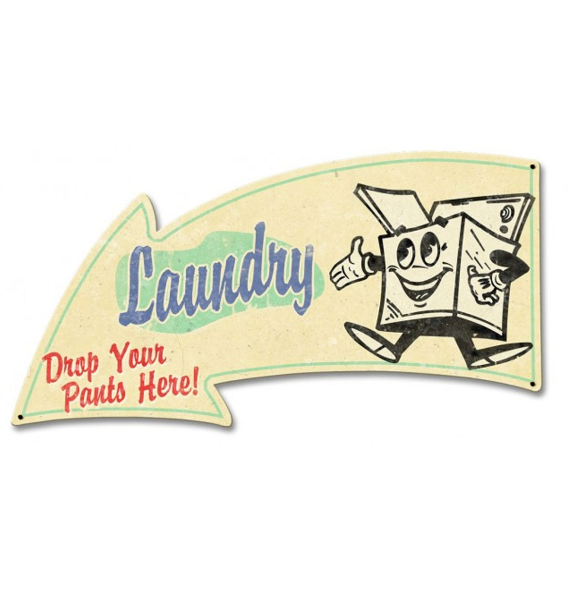 Laundry Arrow Grunge Zwaar Metalen Bord 55,5 x 30 cm