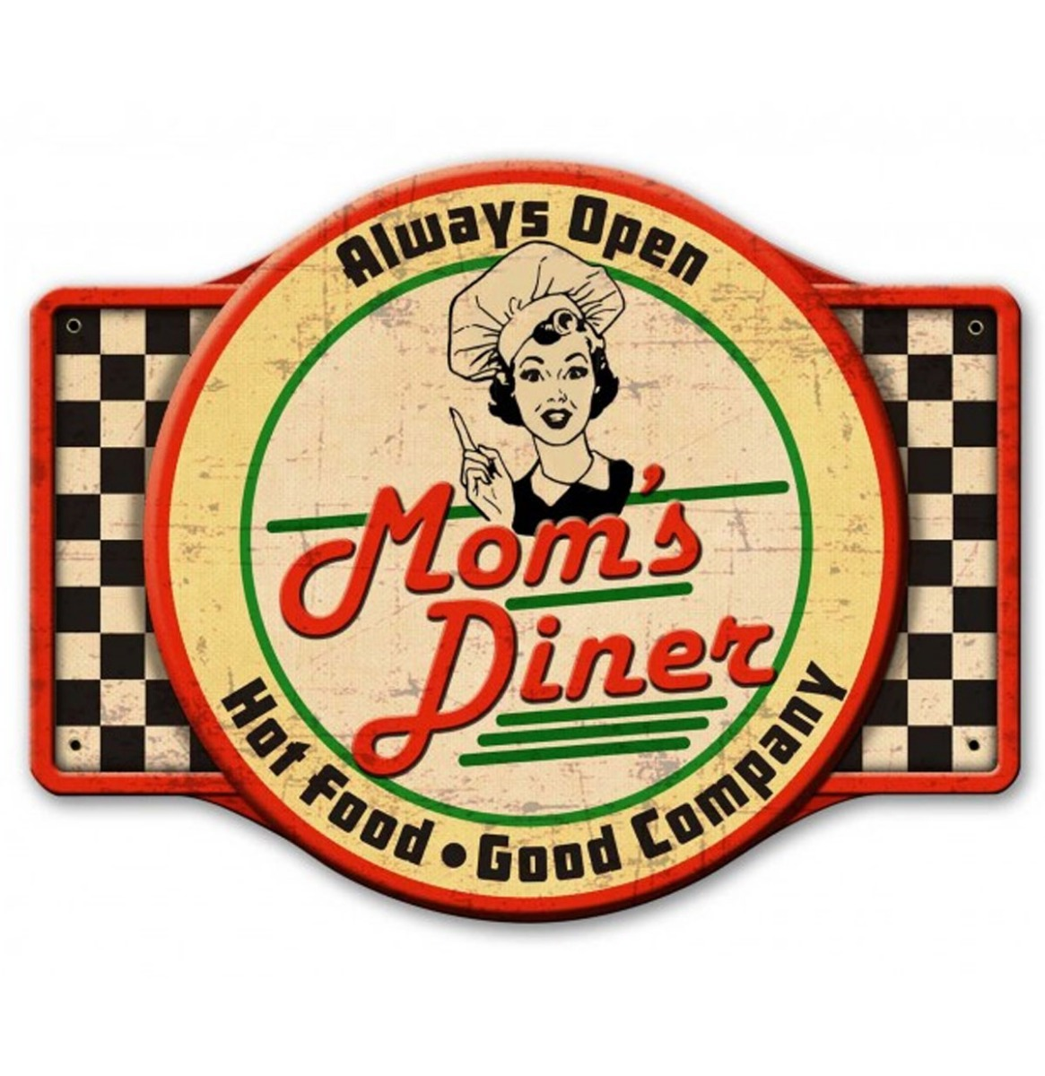Mom's Diner Always Open Zwaar Metalen Bord 61 x 46 cm