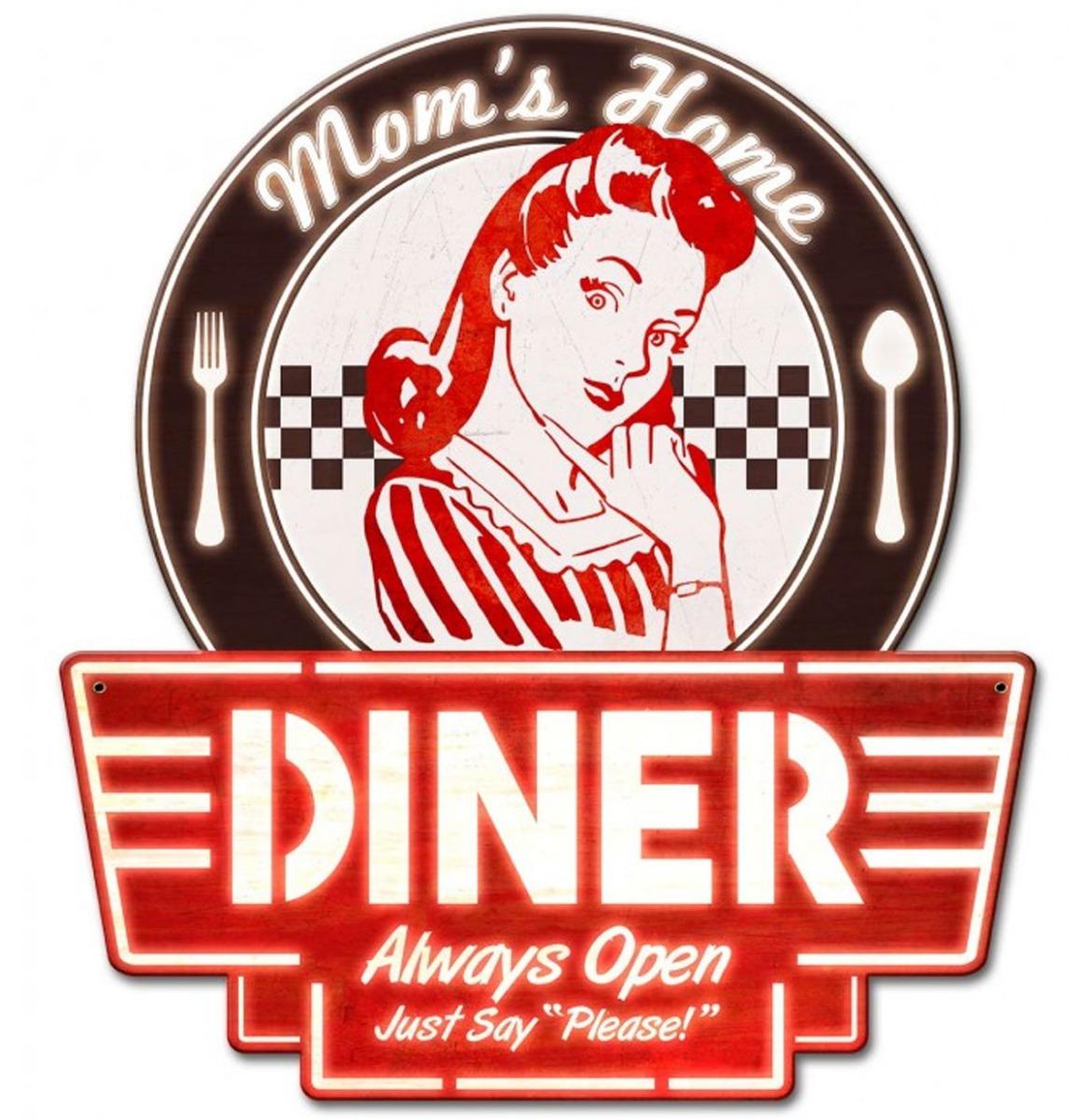 Mom's Home Diner Zwaar Metalen Bord 43 x 40 cm