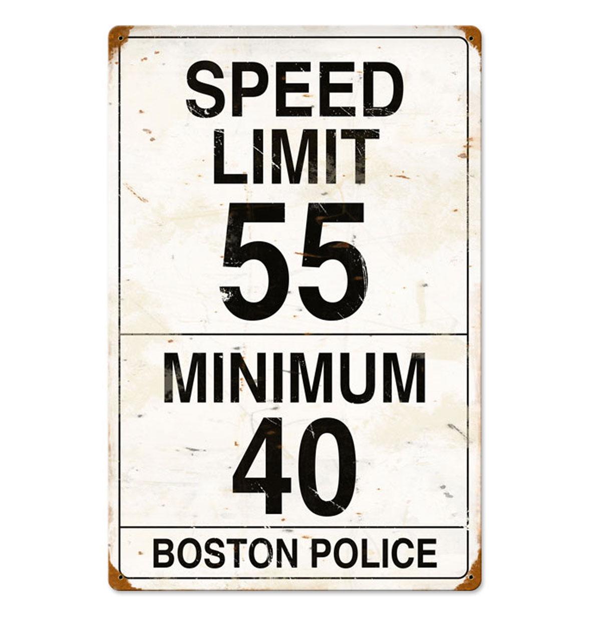 Speed Limit 55 Boston Police Zwaar Metalen Bord