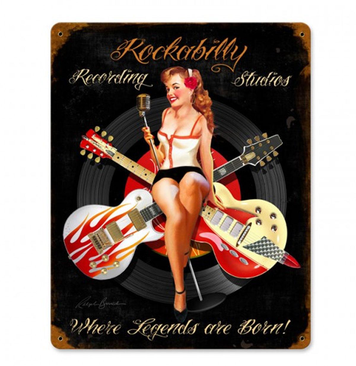 Rockabilly Recording Studios Zwaar Metalen Bord