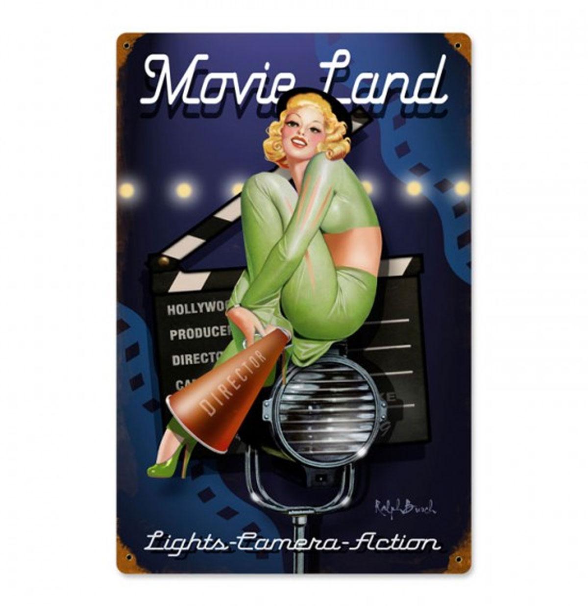 Movie Land Pin-Up Zwaar Metalen Bord - Ralph Burch