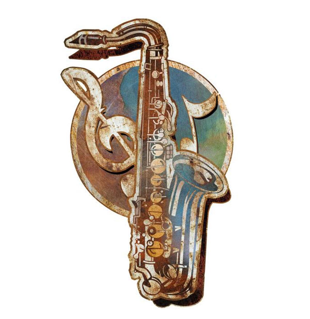 Saxofoon 3D Layered Zwaar Metalen Bord