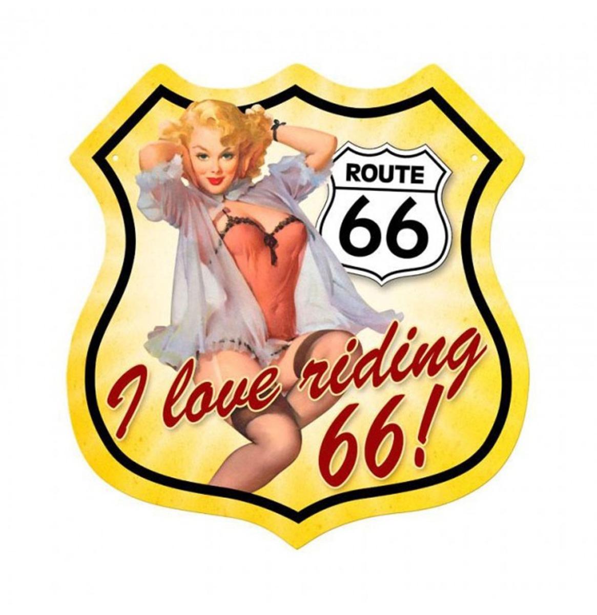 Route 66 I Love Riding 66 Pin-Up Zwaar Metalen Bord 37,5 x 39 cm