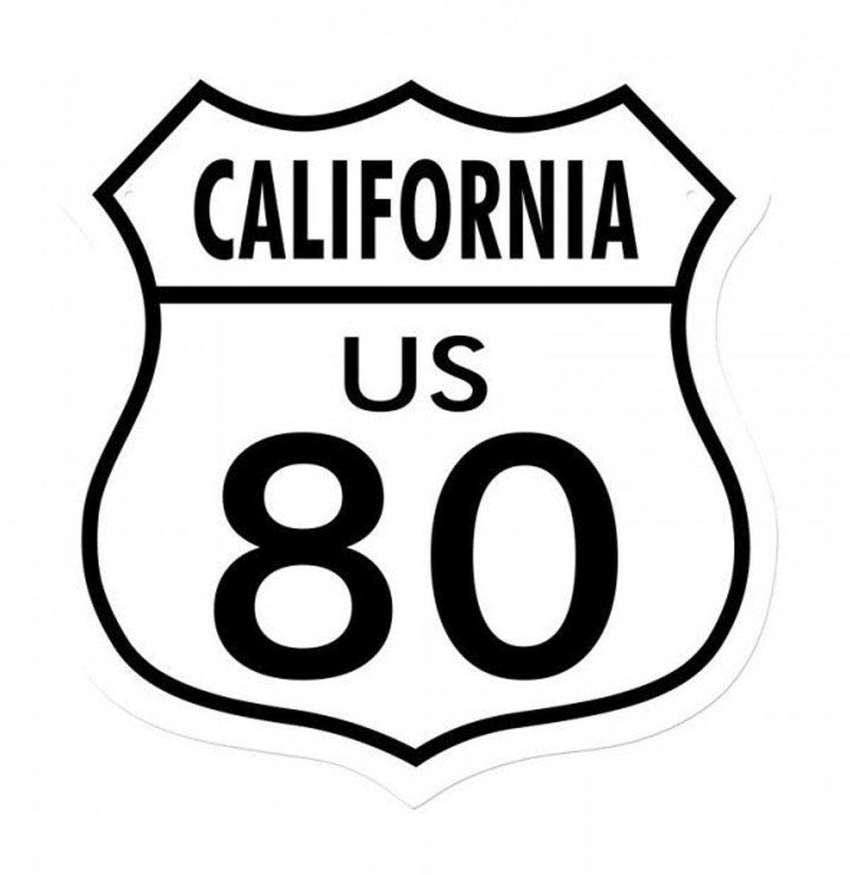California US 80 Straatbord Zwaar Metalen Bord 38 x 38 cm