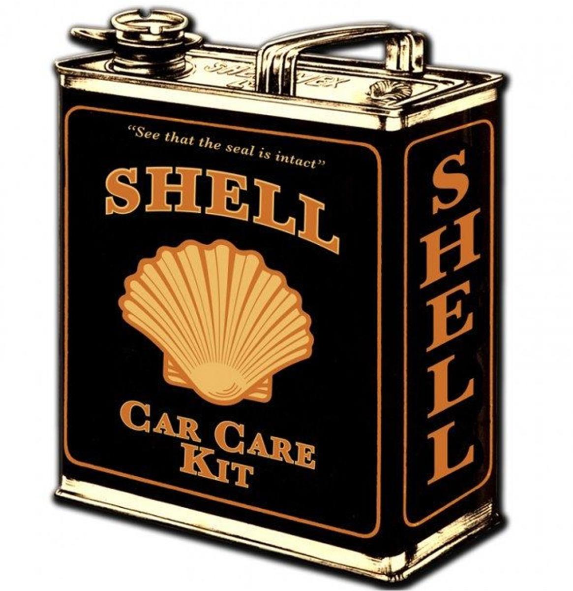 fiftiesstore Shell Motor Oil - Olieblik Zwaar Metalen Bord - 36 x 29 cm