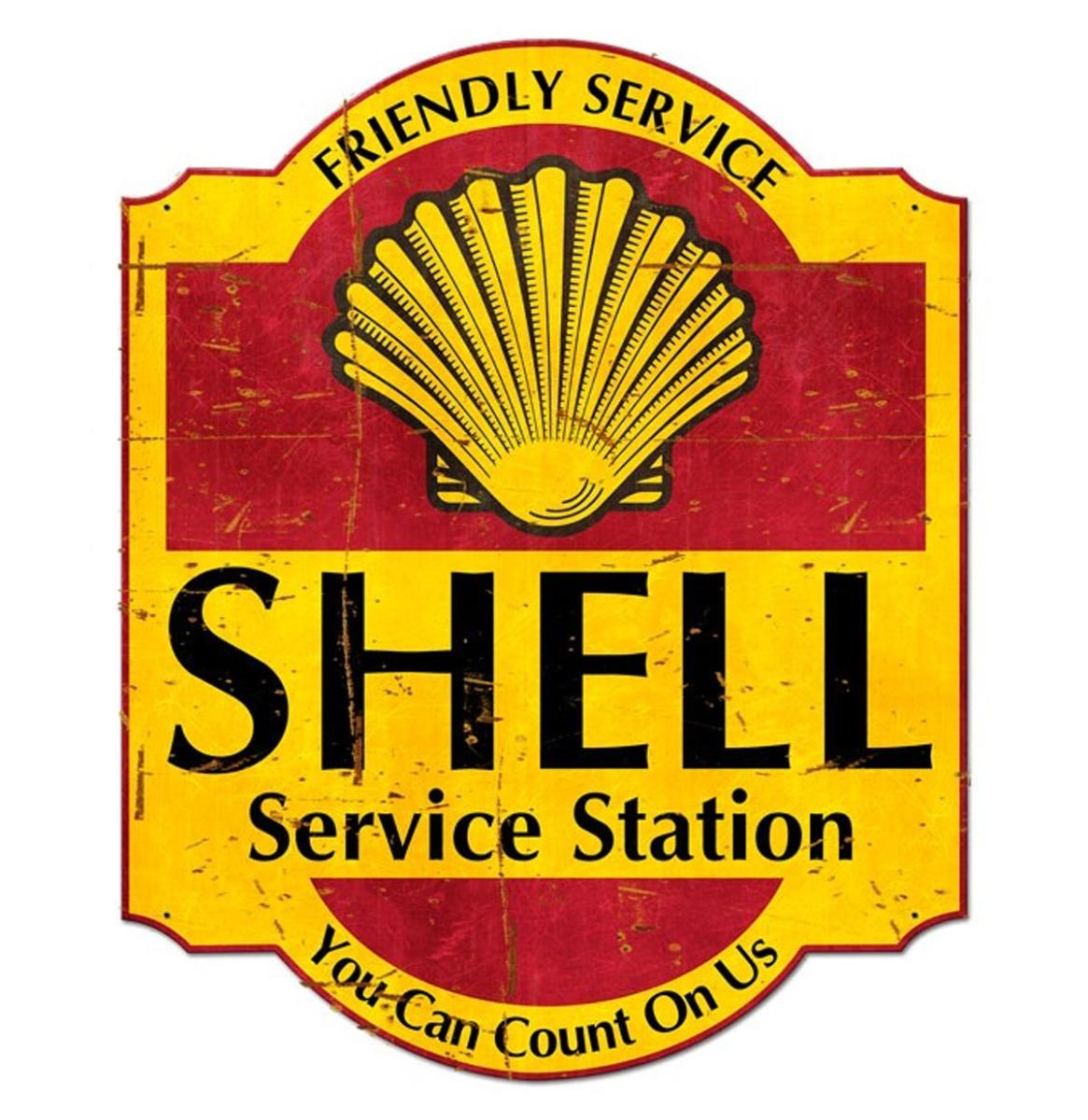 Friendly Service Shell Service Station Grunge Zwaar Metalen Bord 62 x 76 cm