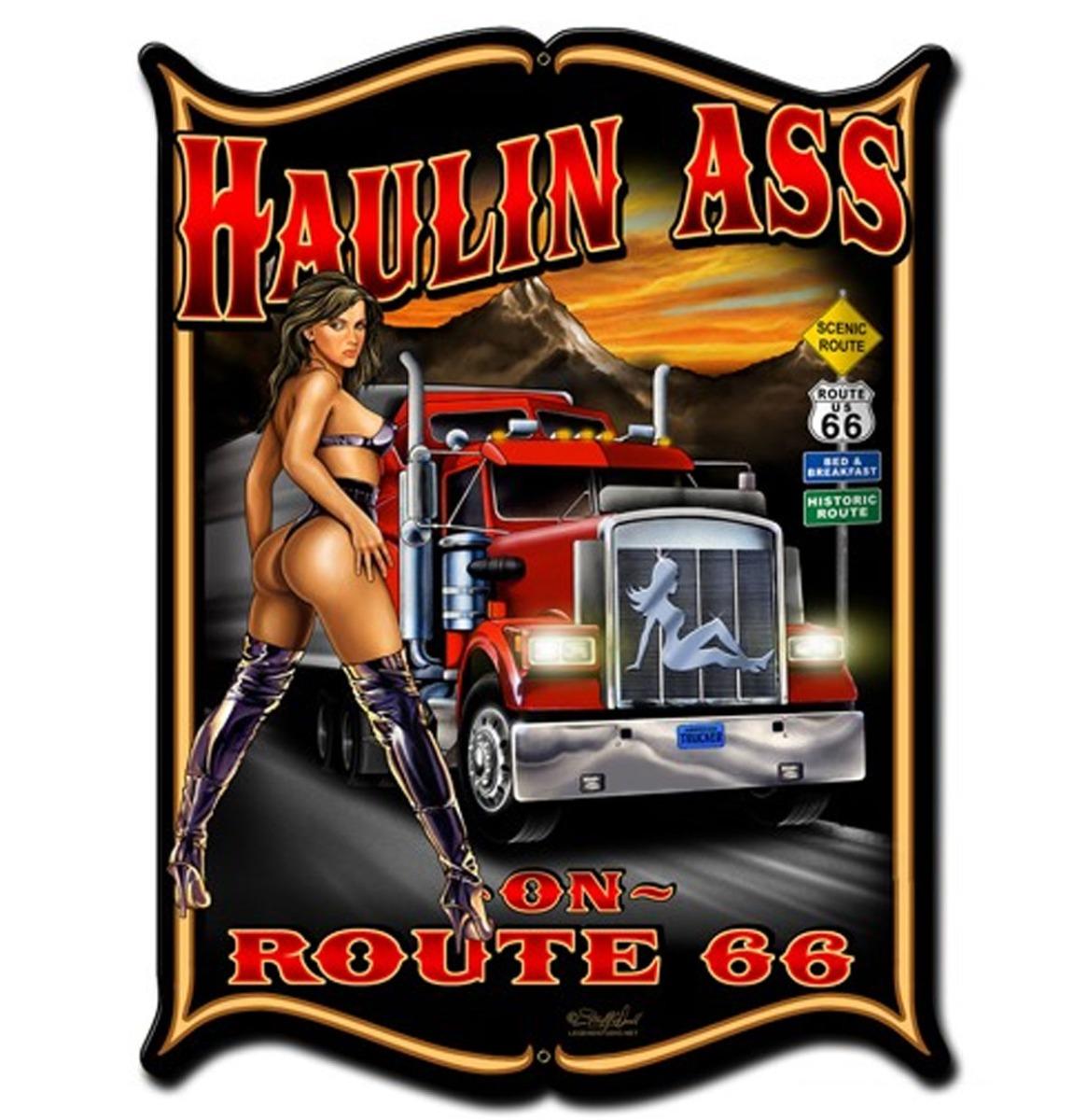 Haulin Ass On Route 66 Pin Up Zwaar Metalen Bord 48 x 35 cm