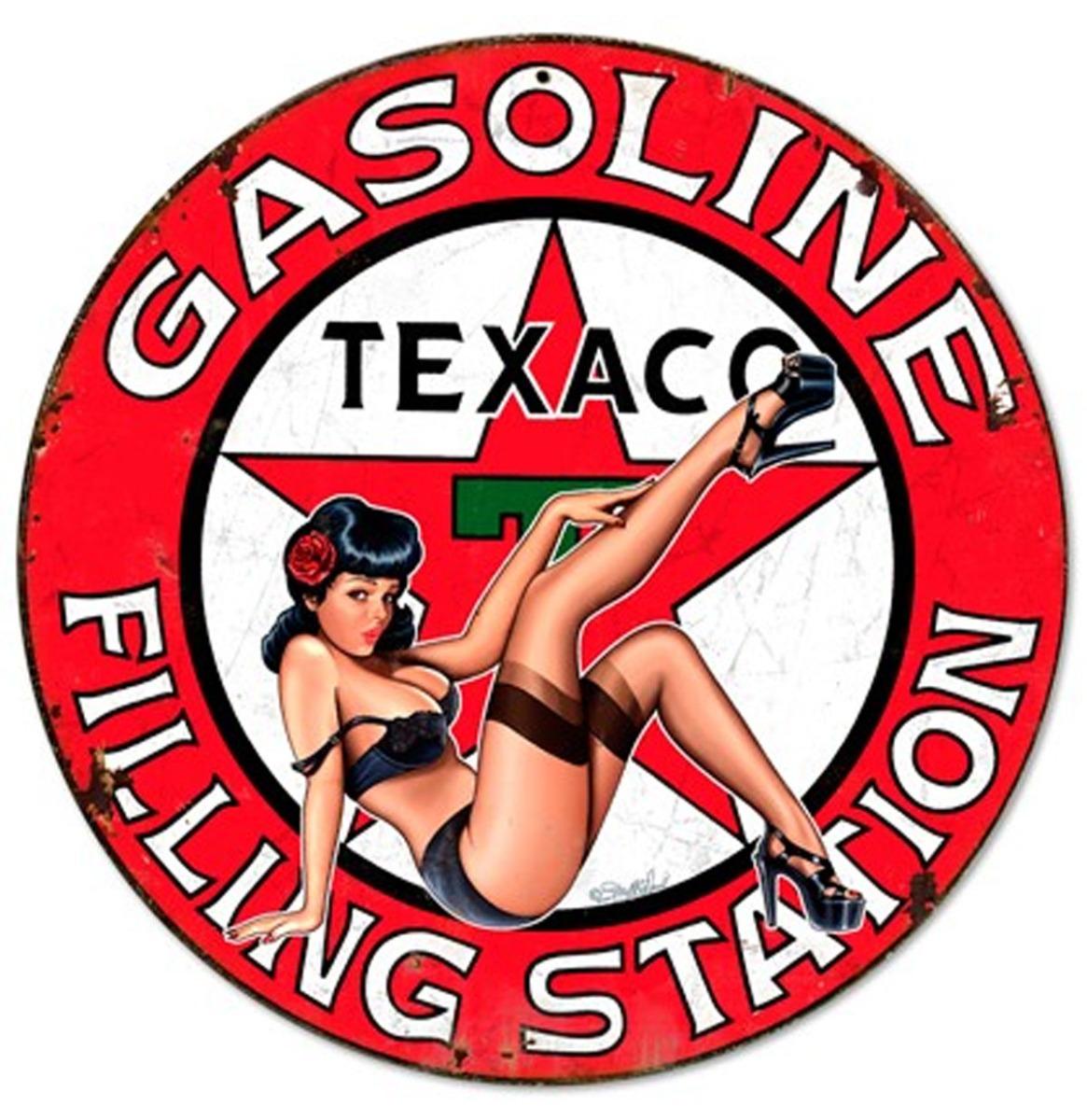 Texaco Gasoline Filling Station Pin-Up Zwaar Metalen Bord 35,5 cm