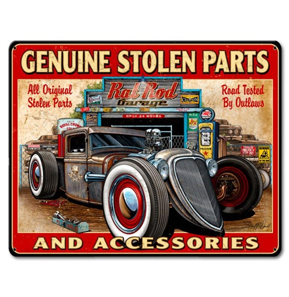Genuine Stolen Parts And Accessories Zwaar Metalen Bord 40 x 30 cm
