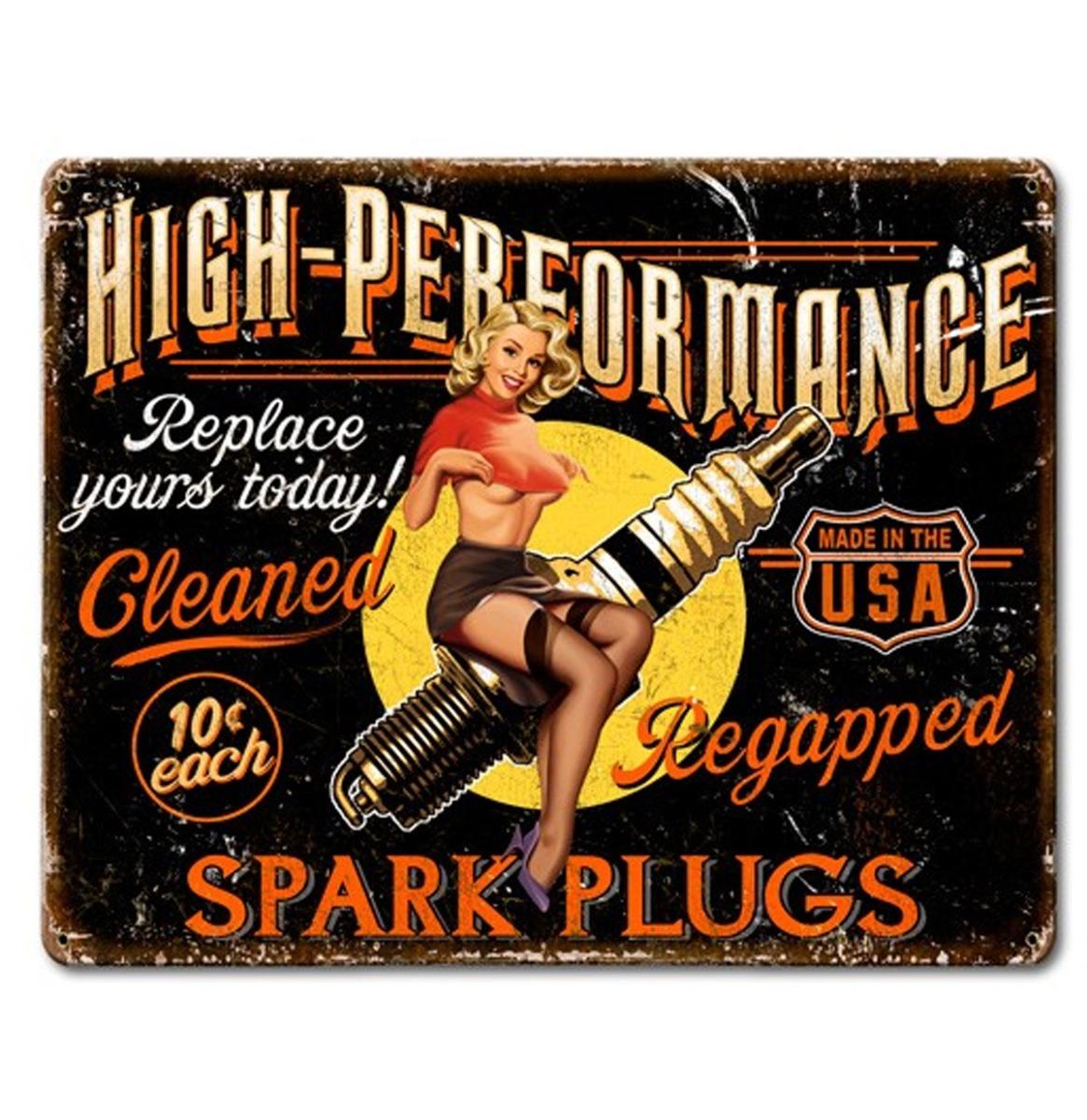 High Performance Spark Plugs Pin Up Zwaar Metalen Bord 40 x 30 cm