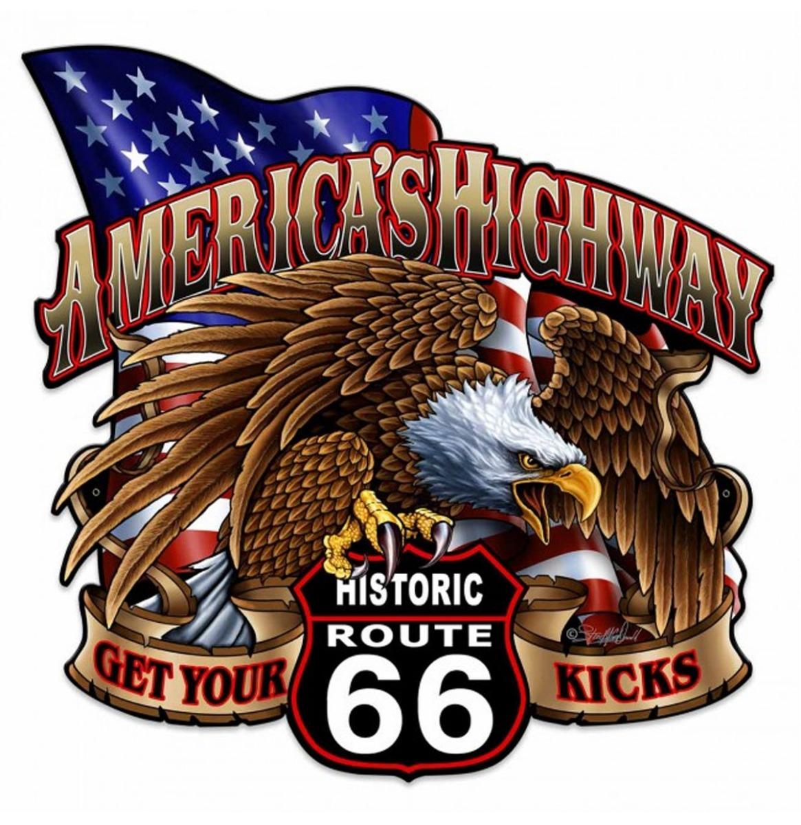 America's Highway Historic Route 66 Zwaar Metalen Bord 61 x 61 cm