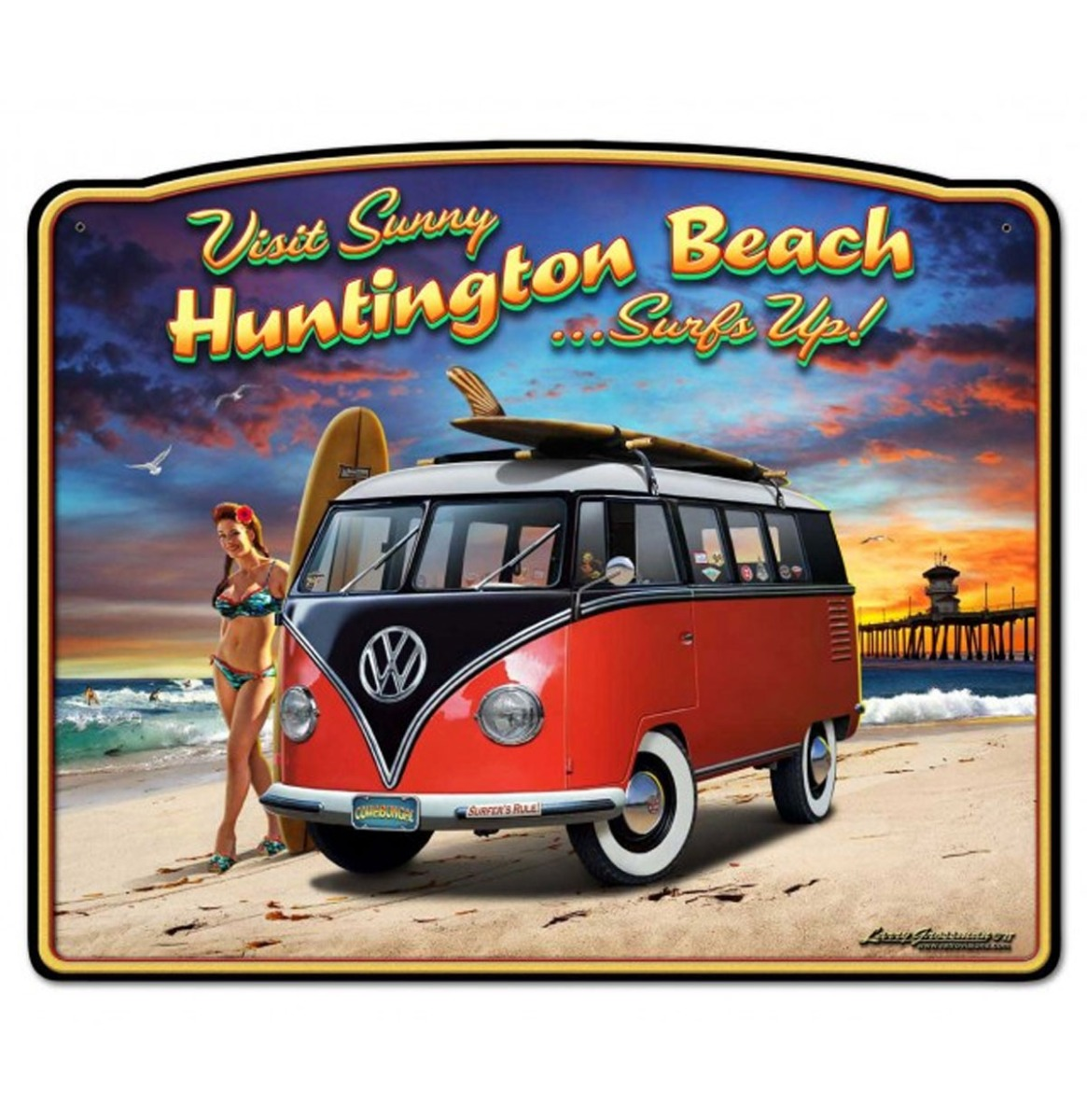 Volkwagen VW Bulli Visit Sunny Huntington Beach Zwaar Metalen Bord 37 x 45 cm
