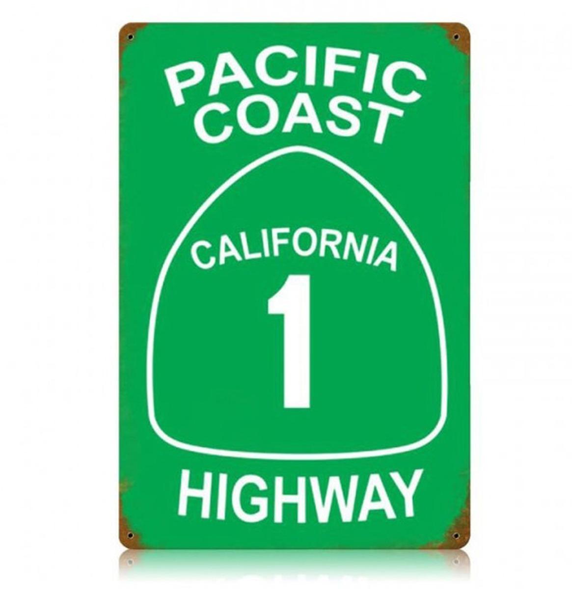 Pacific Coast California 1 Highway Zwaar Metalen Bord 45 x 30 cm