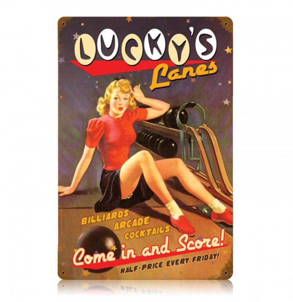 Lucky's Lanes Pin Up Bowling Zwaar Metalen Bord