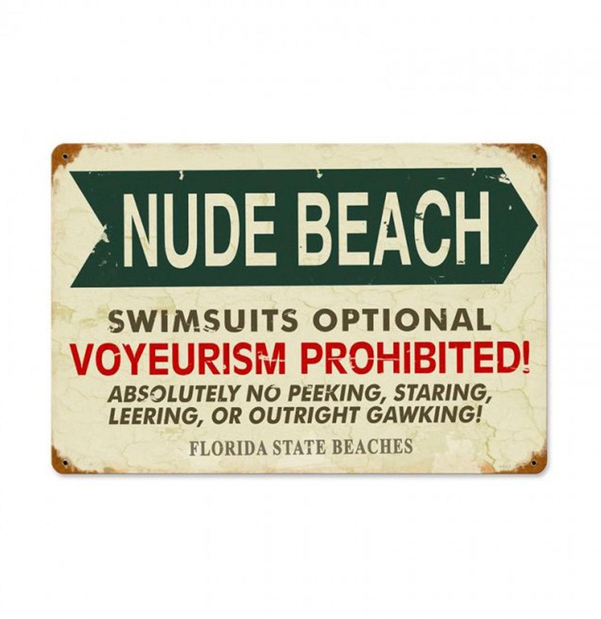 Nude Beach Florida Zwaar Metalen Bord