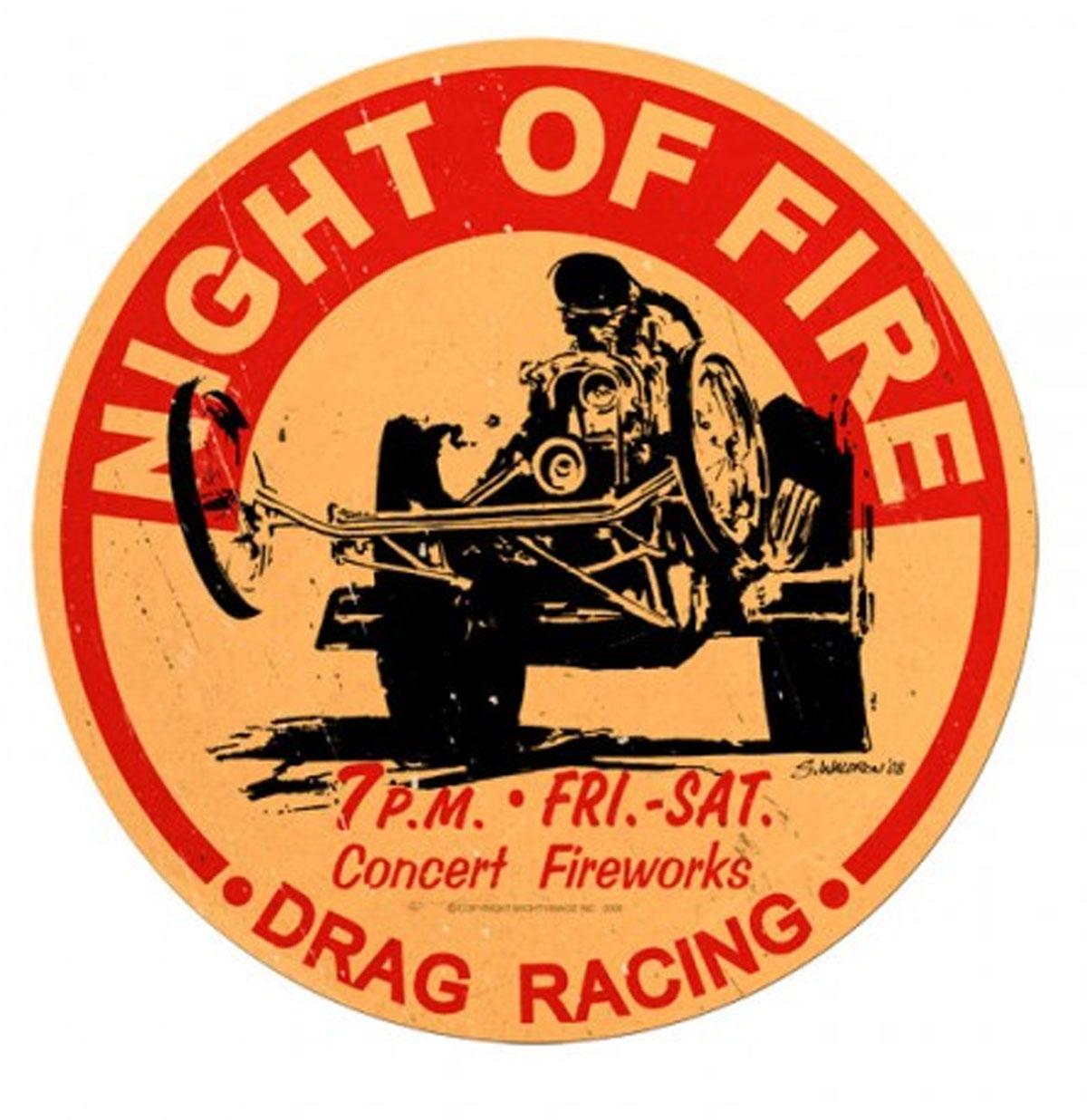 Night Of Fire Drag Racing Rond Zwaar Metalen Bord 35 cm ø