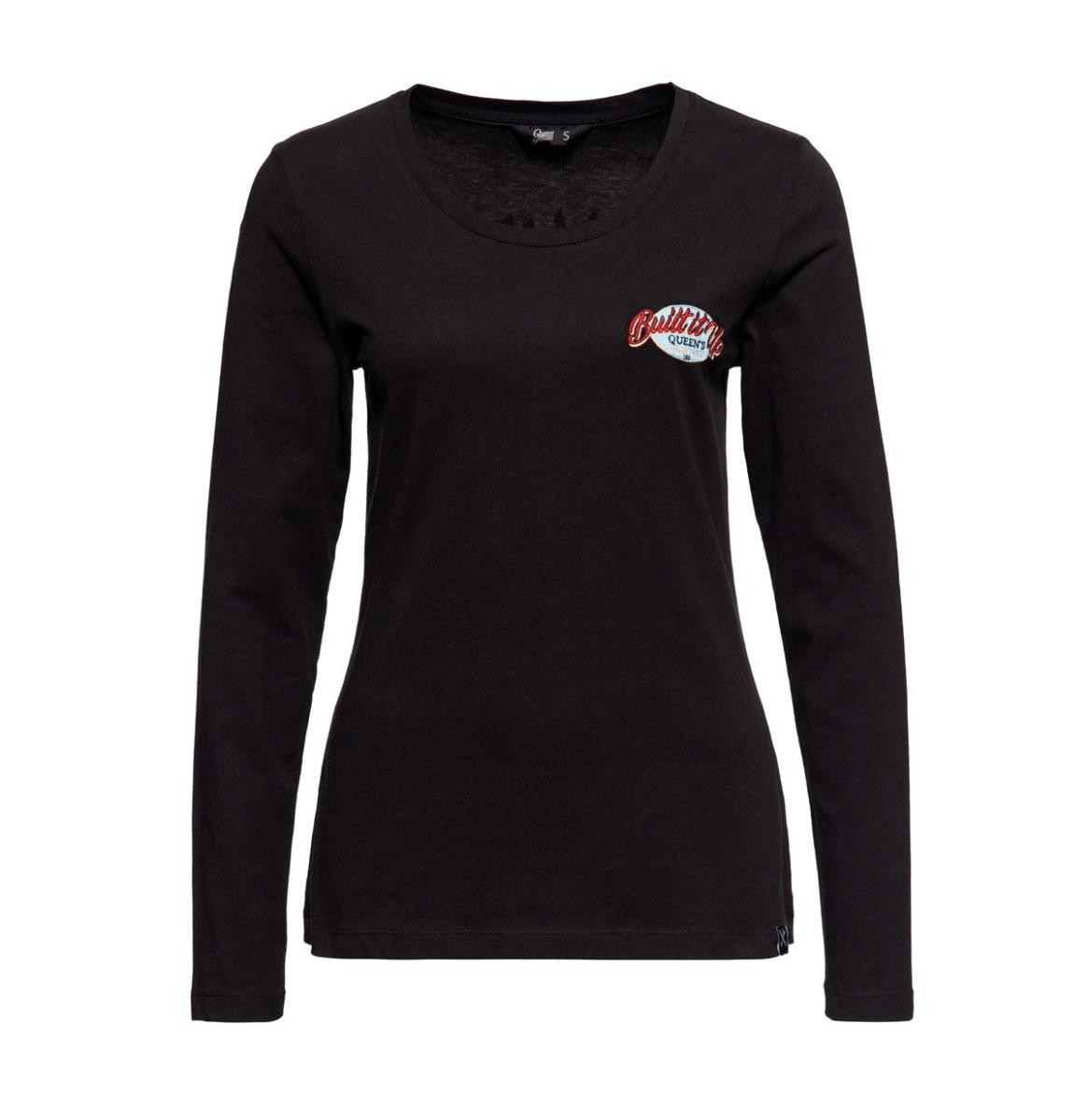 Queen Kerosin Built Up Lange Mouwen Shirt Zwart
